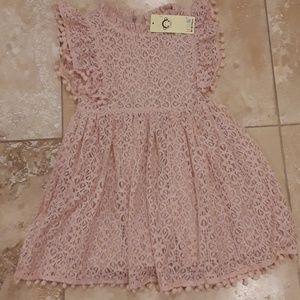 Lace Dress with Pom Pom Tassel Trim